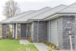Light grey metal tile roofing