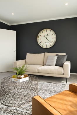 Skirting and coving is the same colour as the ceiling, creating a stunning colour contrast in the room